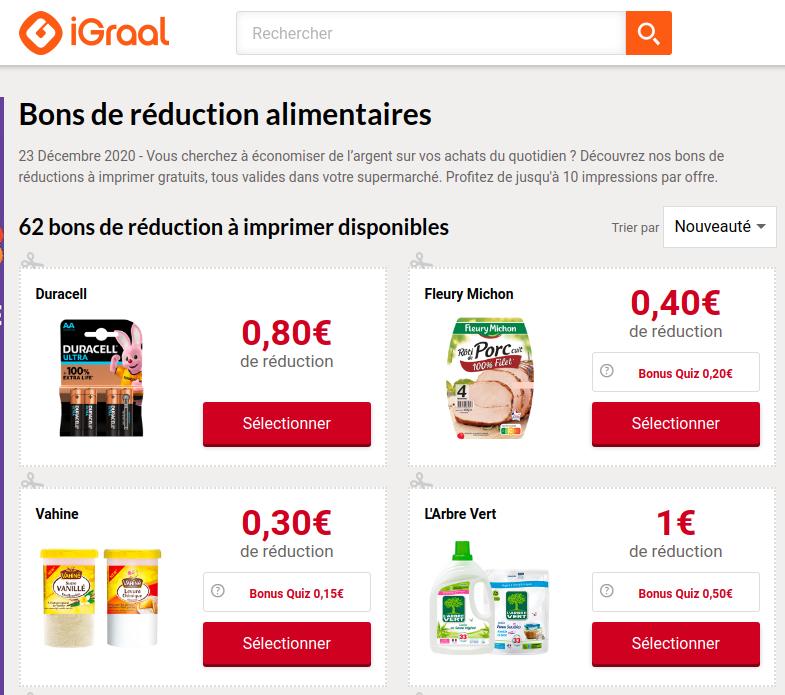 Coupons à Imprimer Igraal Bons De Réductions Enseignes Supermarchés Hypermarchés