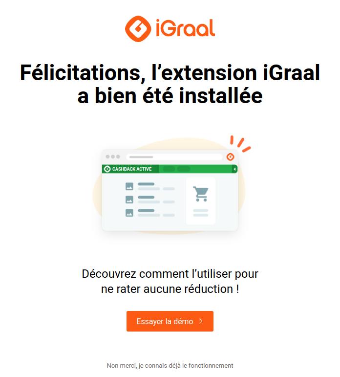 Félicitations Extension Igraal Installée